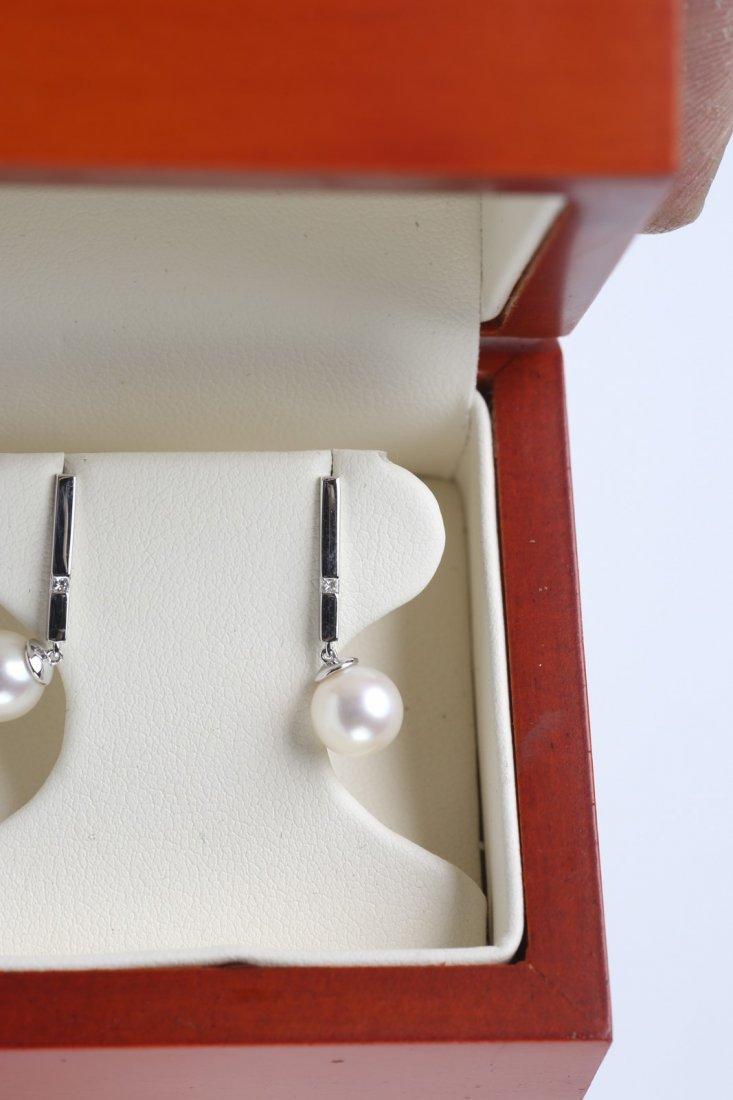 14K White Gold, Pearl & Diamond Earrings - 3