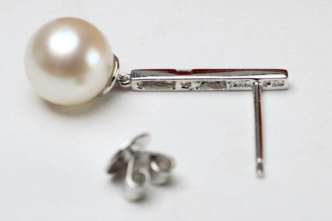 14K White Gold, Pearl & Diamond Earrings - 5