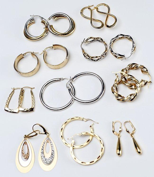 Large Lot of 14K Gold Earrings