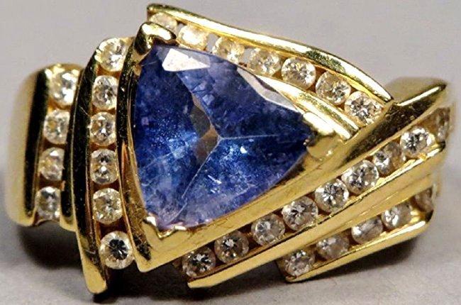 18k Gold, Diamond & Tanzanite Ring LaVian
