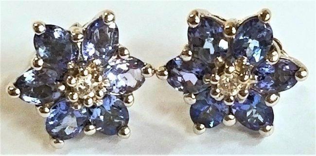 14k Gold, Tanzanite & Diamond Earrings