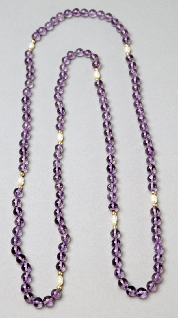 Contemporary Amethyst, Pearl, 14K Gold Necklace