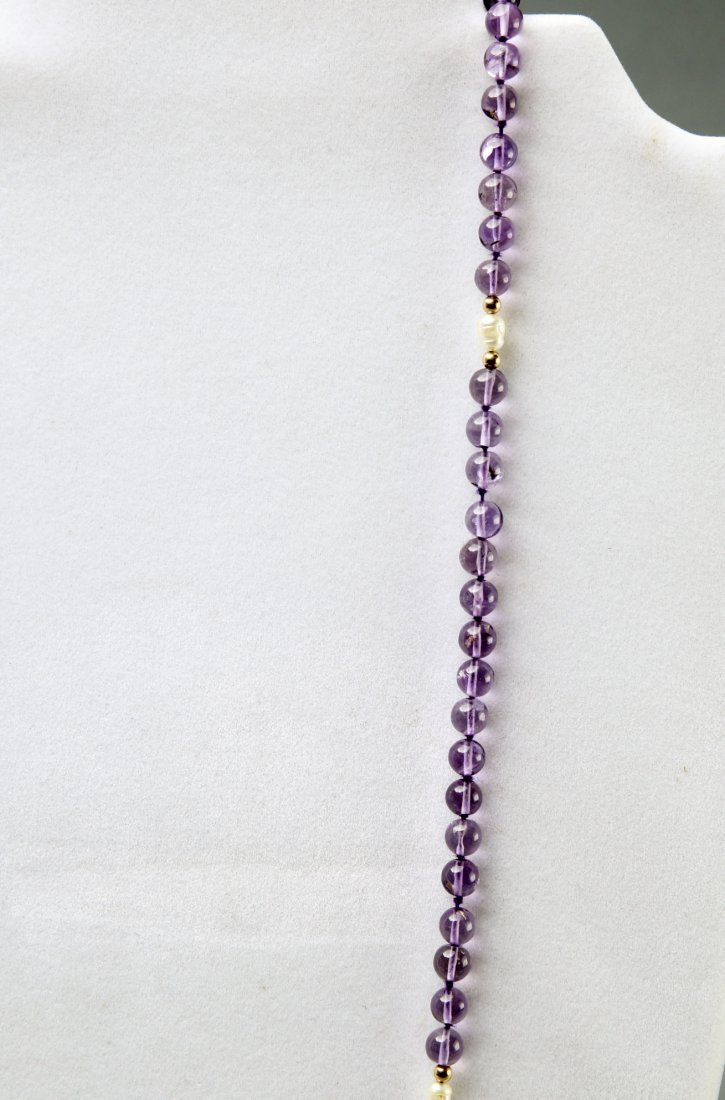 Contemporary Amethyst, Pearl, 14K Gold Necklace - 2
