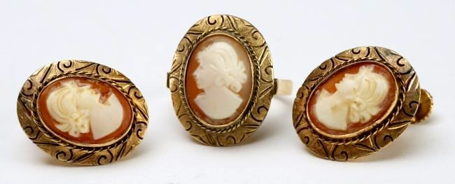 14K Gold Cameo Earrings & Ring Set