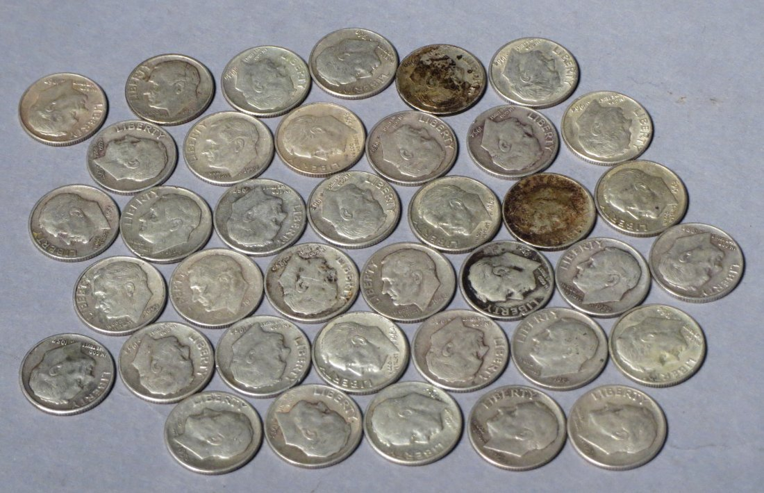 38 Silver Roosevelt Dimes Pre 1964 - 2