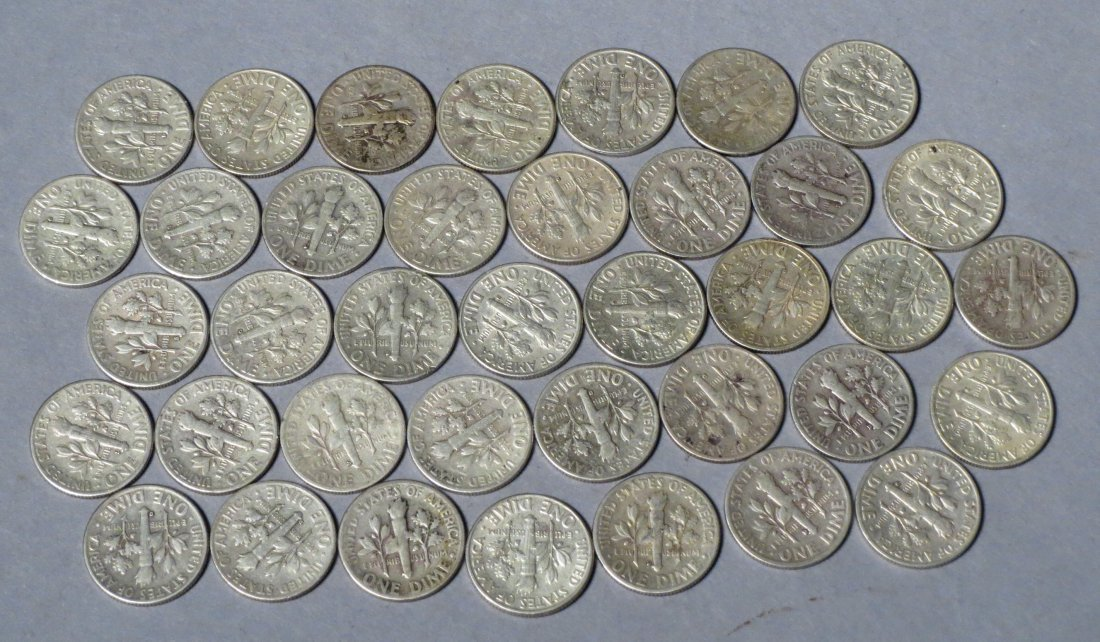 38 Silver Roosevelt Dimes Pre 1964 - 5