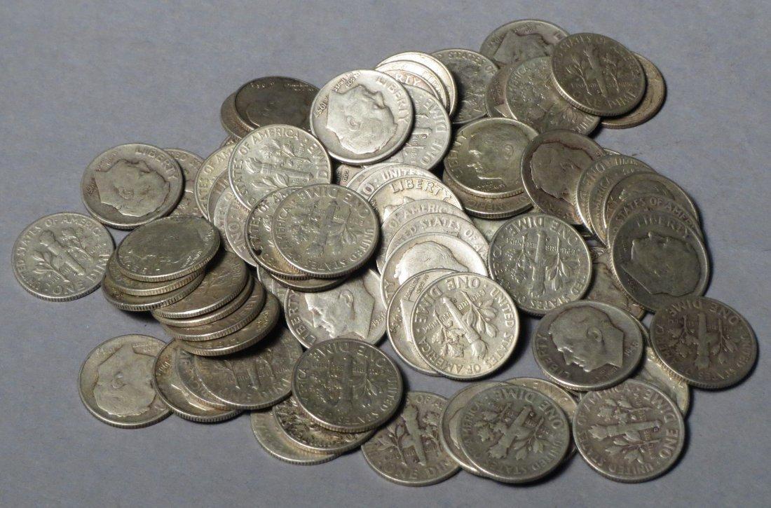 80 Silver Roosevelt Dimes Pre 1964