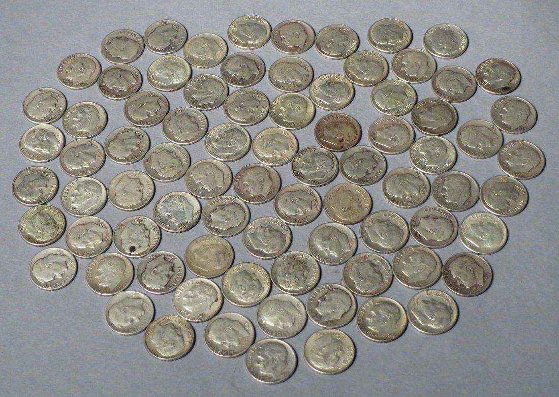 80 Silver Roosevelt Dimes Pre 1964 - 2