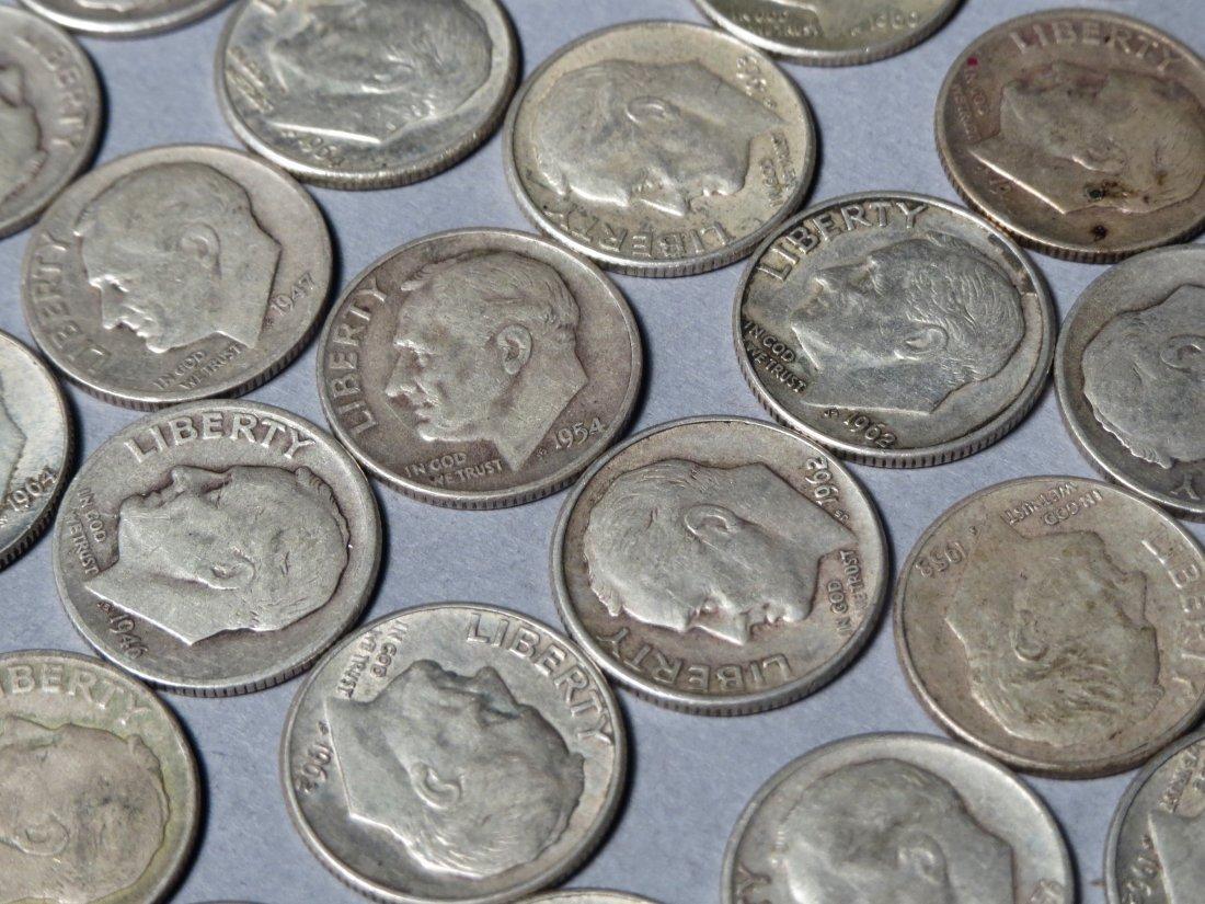 80 Silver Roosevelt Dimes Pre 1964 - 3