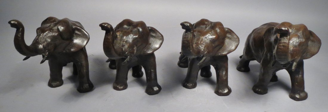 Lot of 4 Cast Metal Elephants