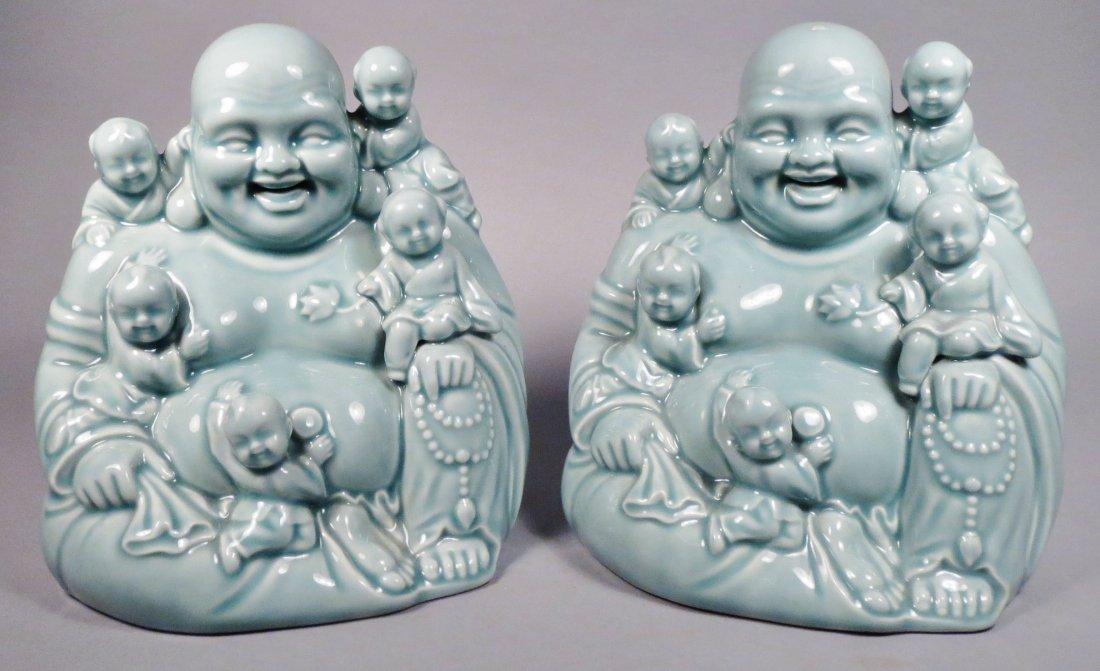 2 Ceramic Hotei God Figurines Celadon Green