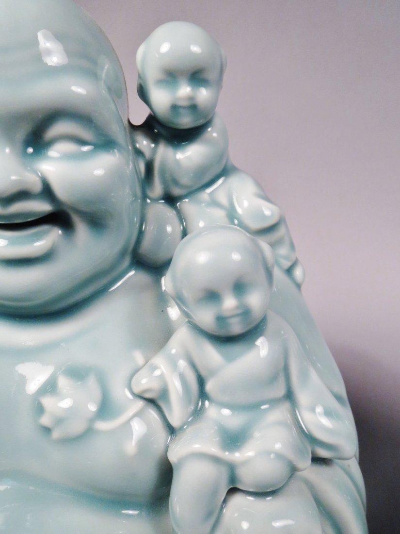 2 Ceramic Hotei God Figurines Celadon Green - 2