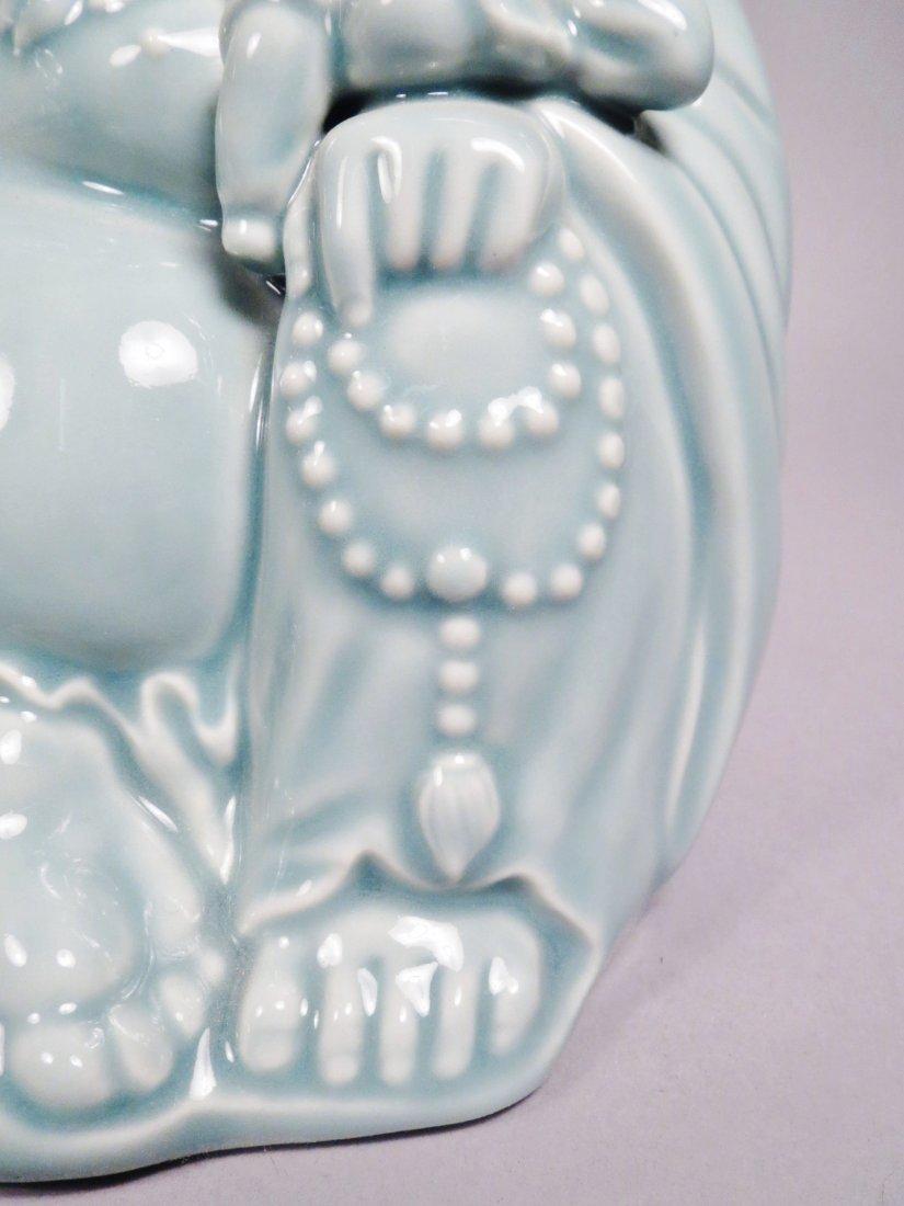 2 Ceramic Hotei God Figurines Celadon Green - 5