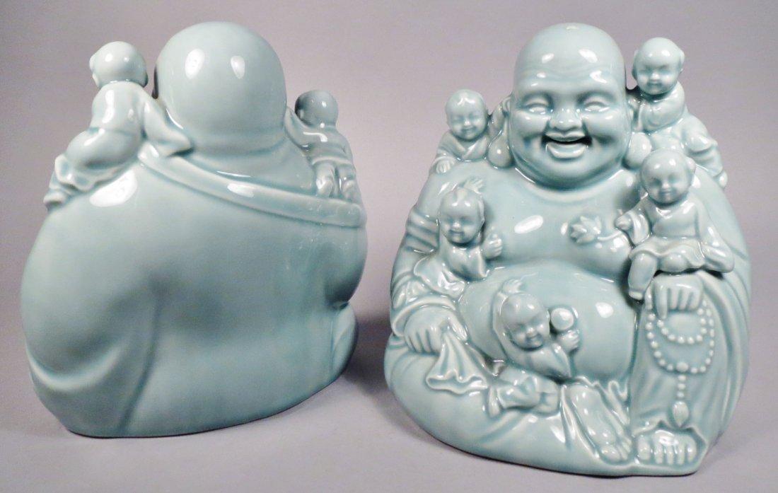 2 Ceramic Hotei God Figurines Celadon Green - 6