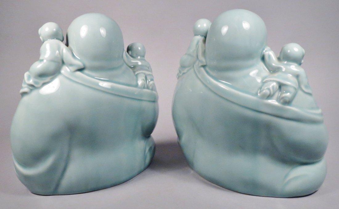 2 Ceramic Hotei God Figurines Celadon Green - 7