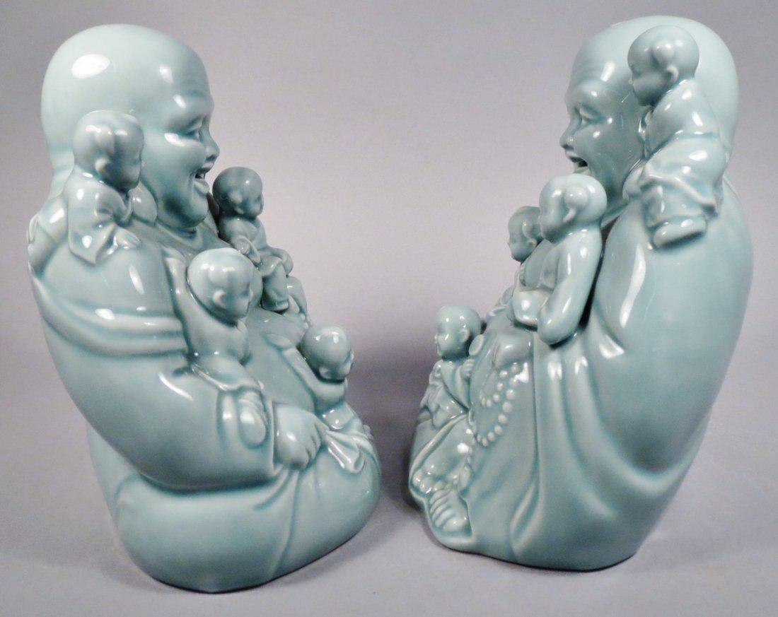 2 Ceramic Hotei God Figurines Celadon Green - 8