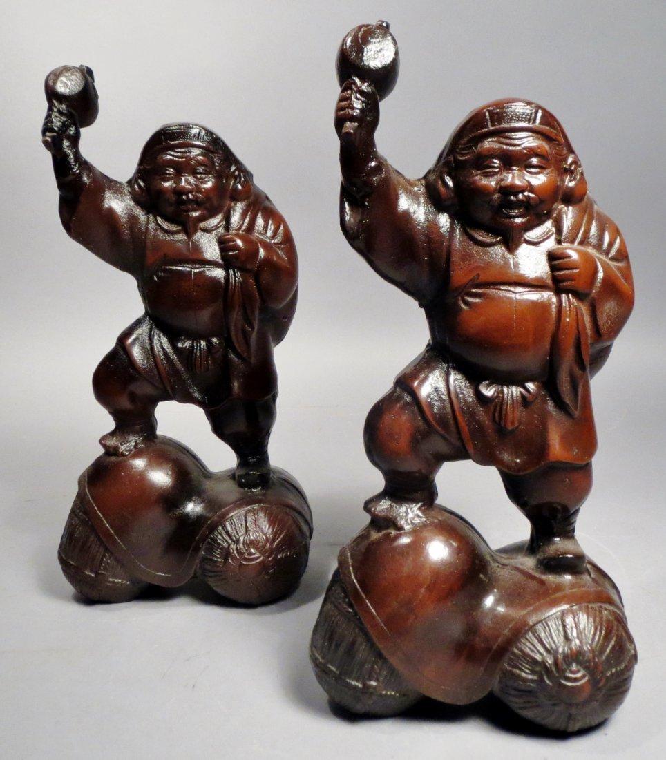2  Vintage Cast Iron Daikoku God of Earth