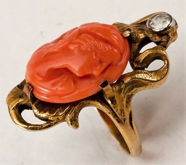 Victorian 14k Gold Coral Carved Cameo Ring - 2
