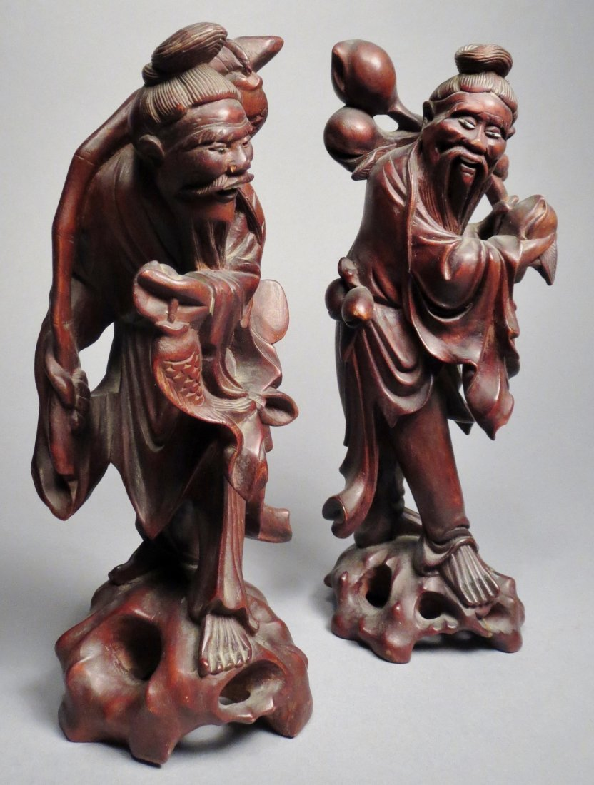 Lot of 2 Carved Wood Chinese Figures