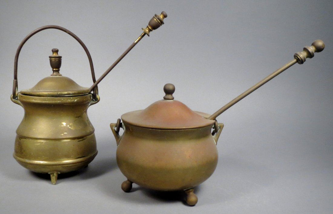 2 Vintage Brass Japanese Fire Pots