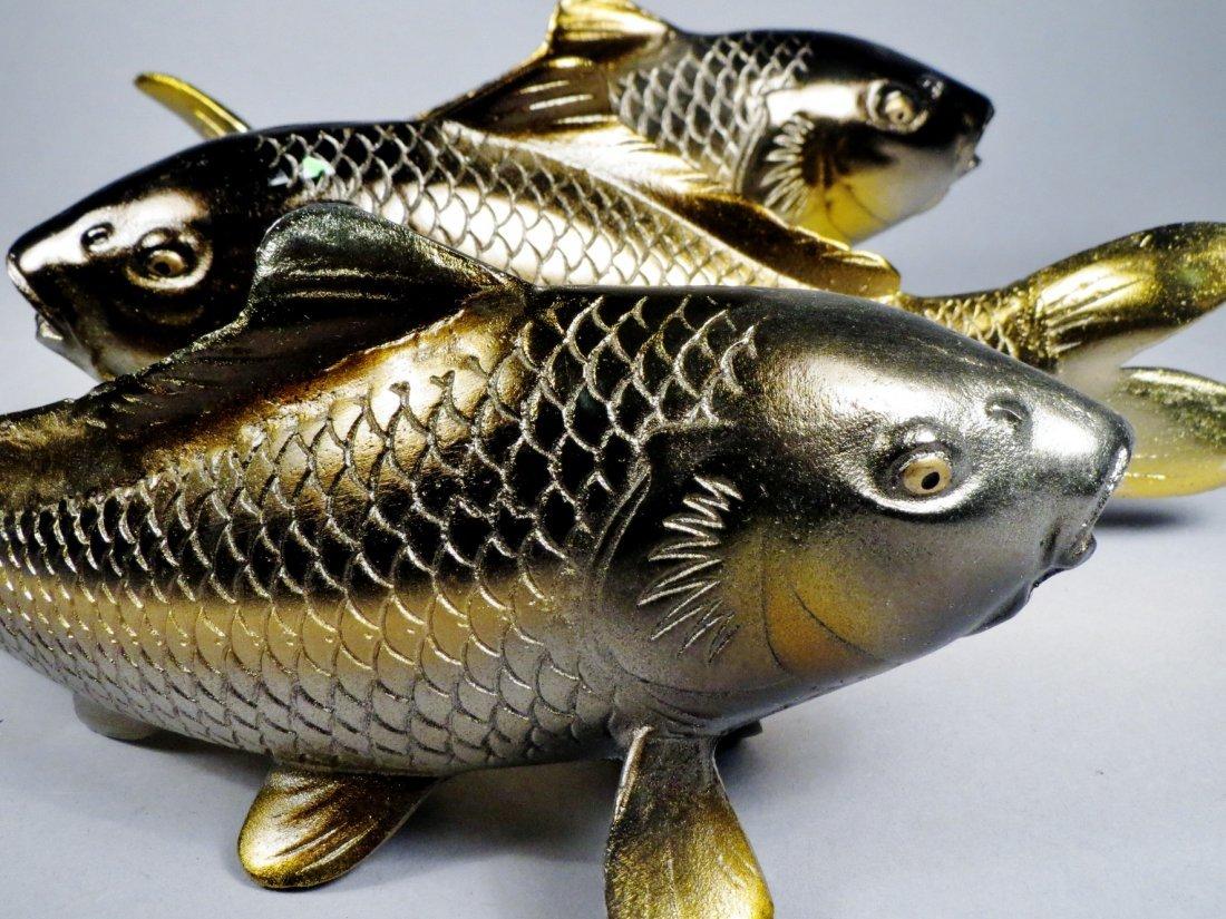 Lot of 6 Japanese Cast Iron Koi Fish - 10