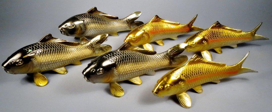 Lot of 6 Japanese Cast Iron Koi Fish