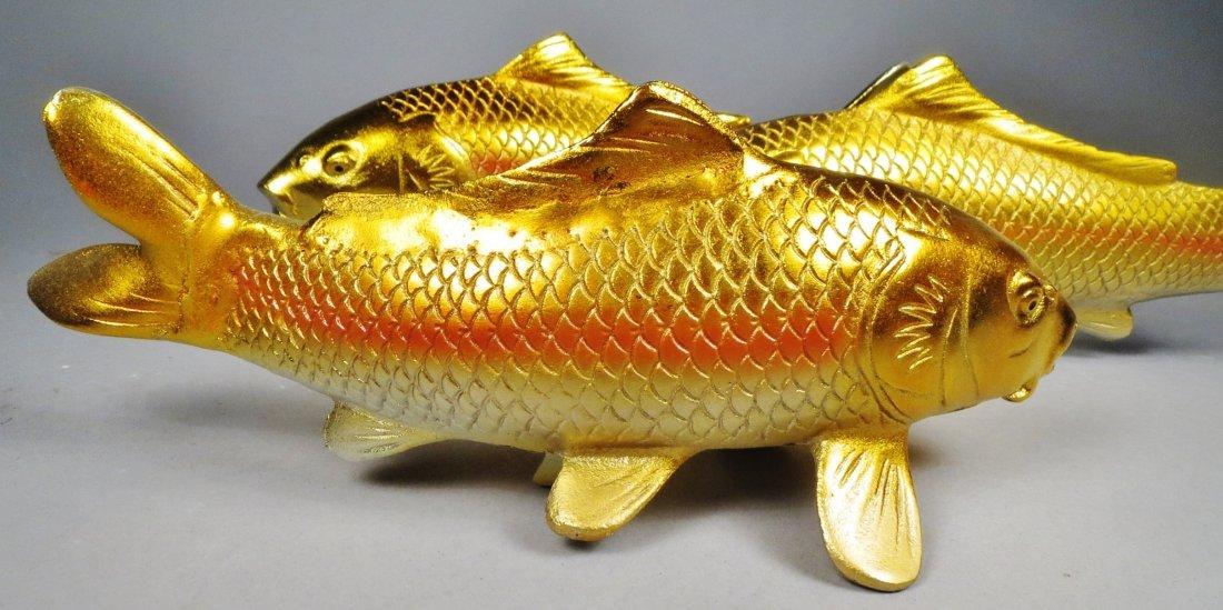 Lot of 6 Japanese Cast Iron Koi Fish - 4