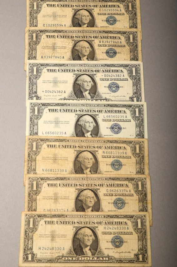 Lot of 7 1957 A Silver Certificates