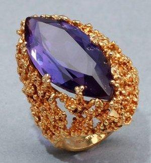 Siffari 10K Gold & Amethyst Cocktail Ring