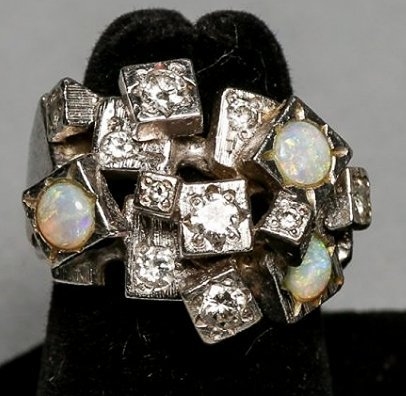 Ladies Opal & Diamond Brutalist Style ring