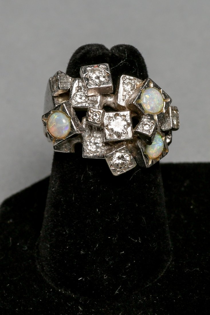 Ladies Opal & Diamond Brutalist Style ring - 2