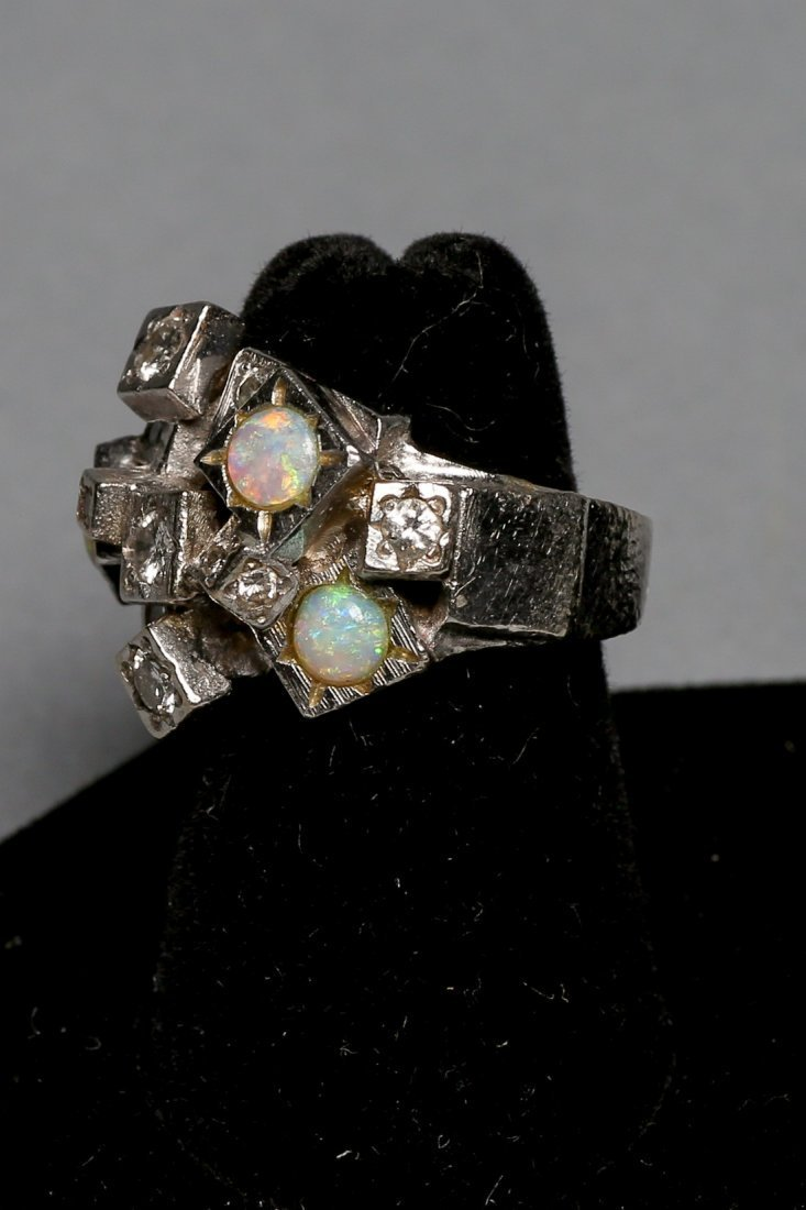 Ladies Opal & Diamond Brutalist Style ring - 3