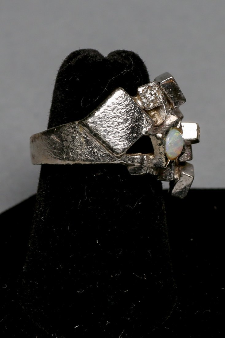 Ladies Opal & Diamond Brutalist Style ring - 4