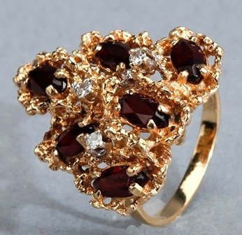 14K Yellow Gold, Garnet and Diamond Cocktail Ring