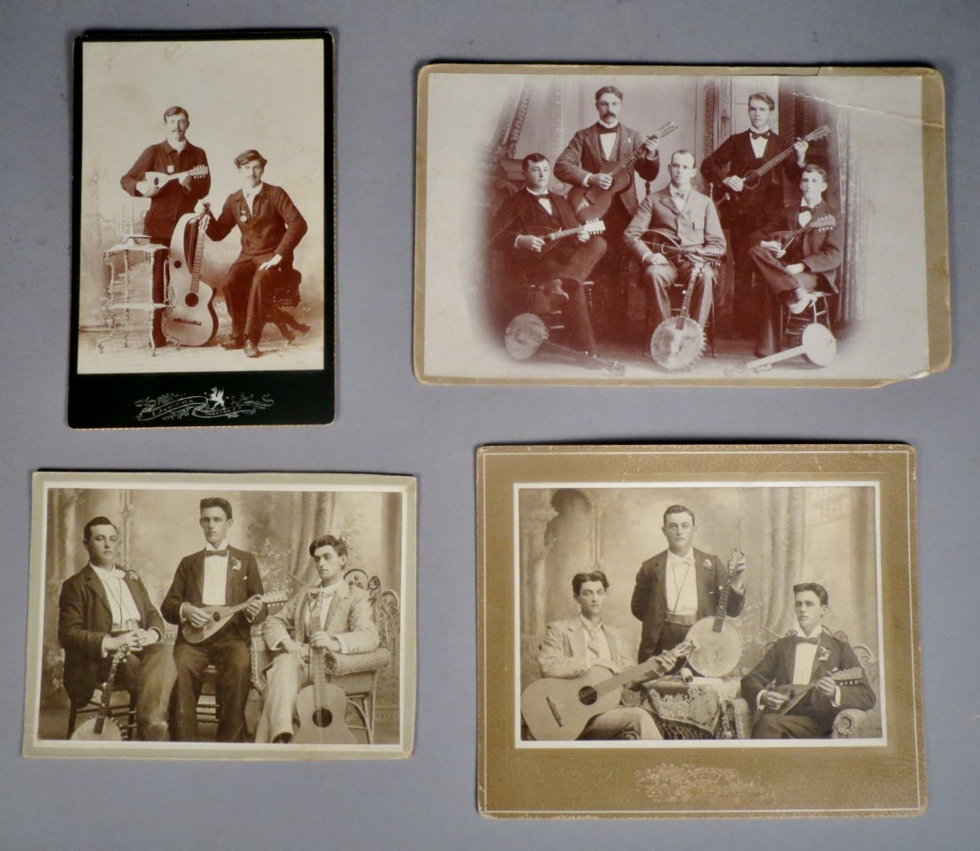 Photo lot of 4 pics with Antique Guitars and  Musicians