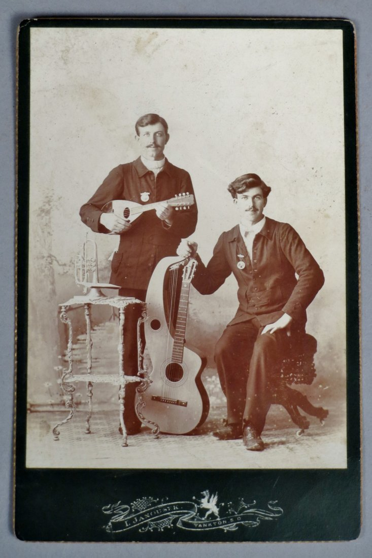 Photo lot of 4 pics with Antique Guitars and  Musicians - 2