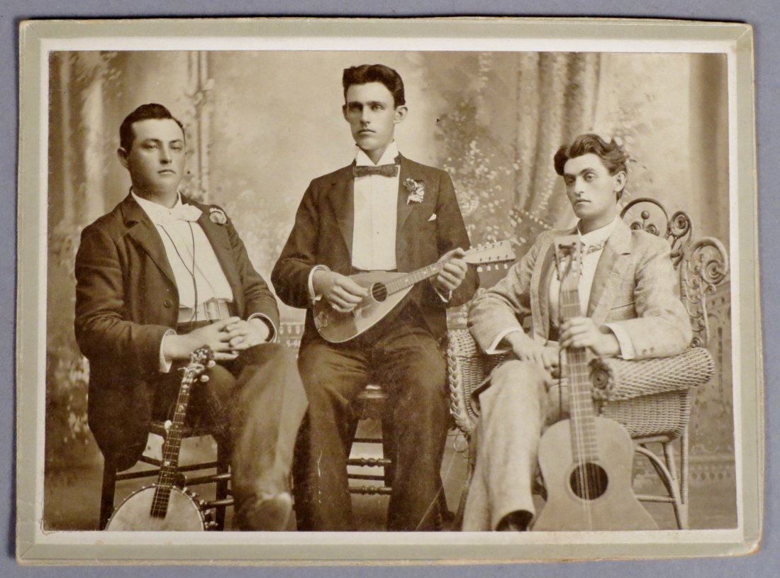 Photo lot of 4 pics with Antique Guitars and  Musicians - 4