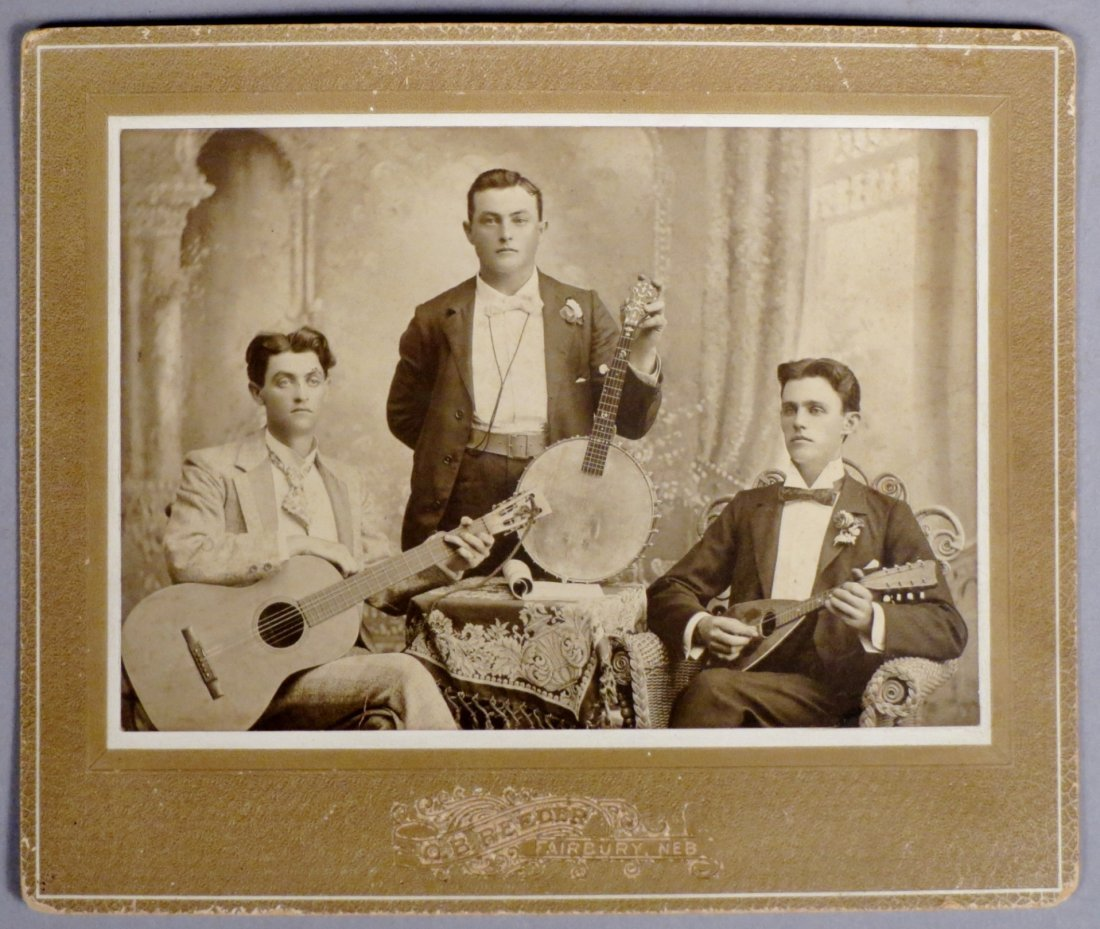 Photo lot of 4 pics with Antique Guitars and  Musicians - 6
