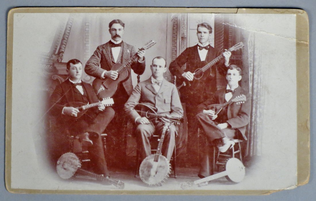 Photo lot of 4 pics with Antique Guitars and  Musicians - 8