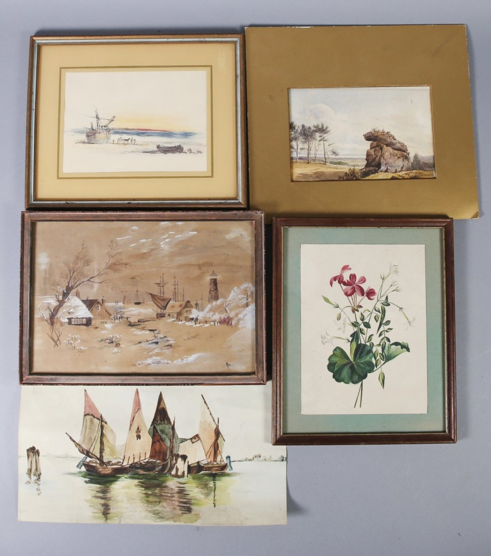 5 pieces misc artwork lot Paintings, watercolors,