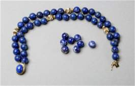 14K Yellow Gold Lapis Bead Necklace