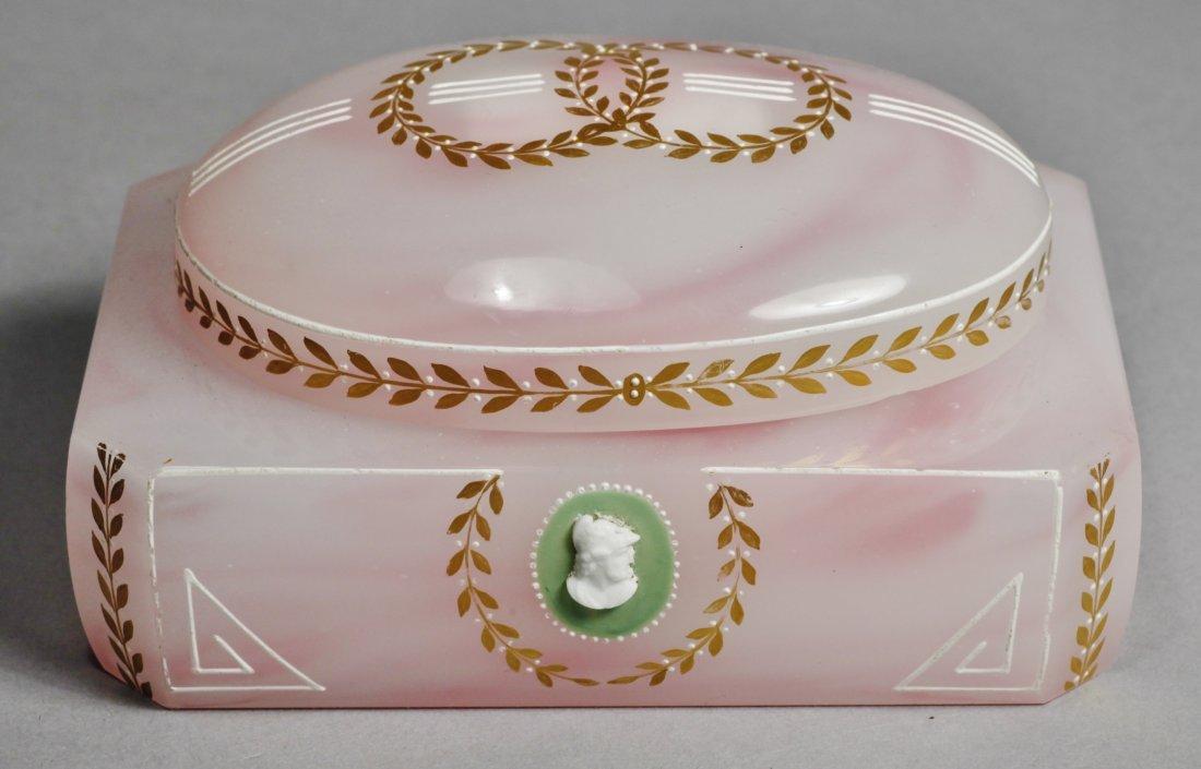 Antique Pink Glass Intaglio Cameo Box