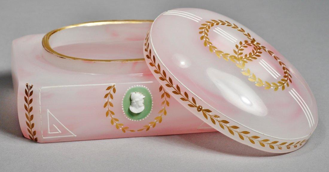 Antique Pink Glass Intaglio Cameo Box - 2