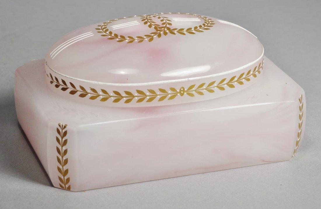 Antique Pink Glass Intaglio Cameo Box - 3