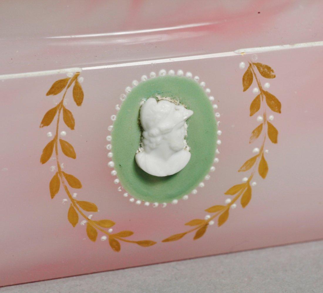 Antique Pink Glass Intaglio Cameo Box - 4