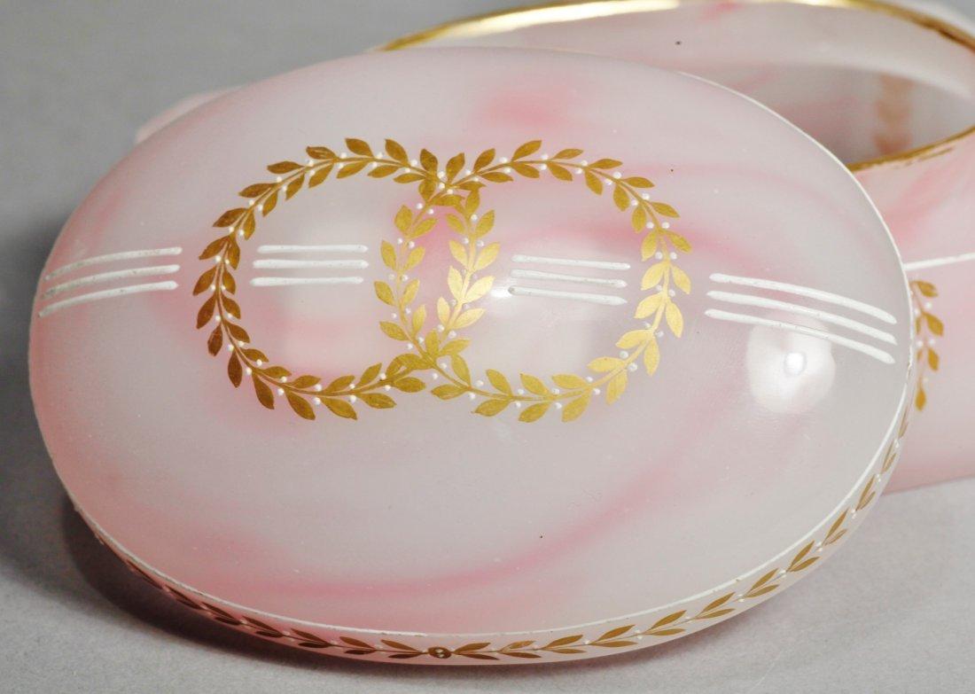 Antique Pink Glass Intaglio Cameo Box - 5
