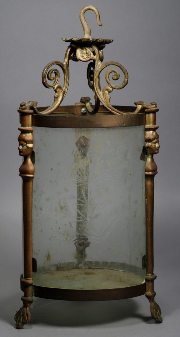 French Antique Light, Etched Glass Hanging - 2