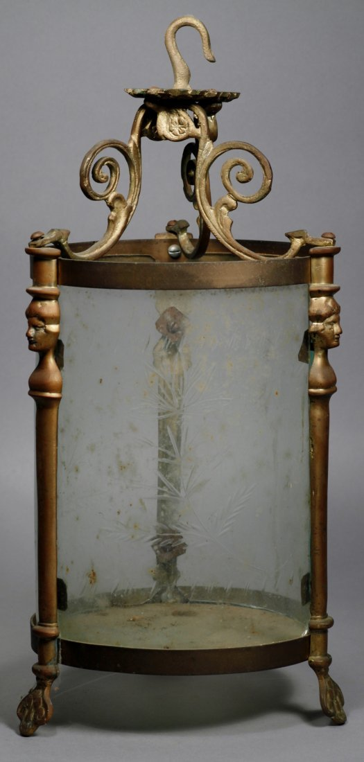 French Antique Light, Etched Glass Hanging - 3