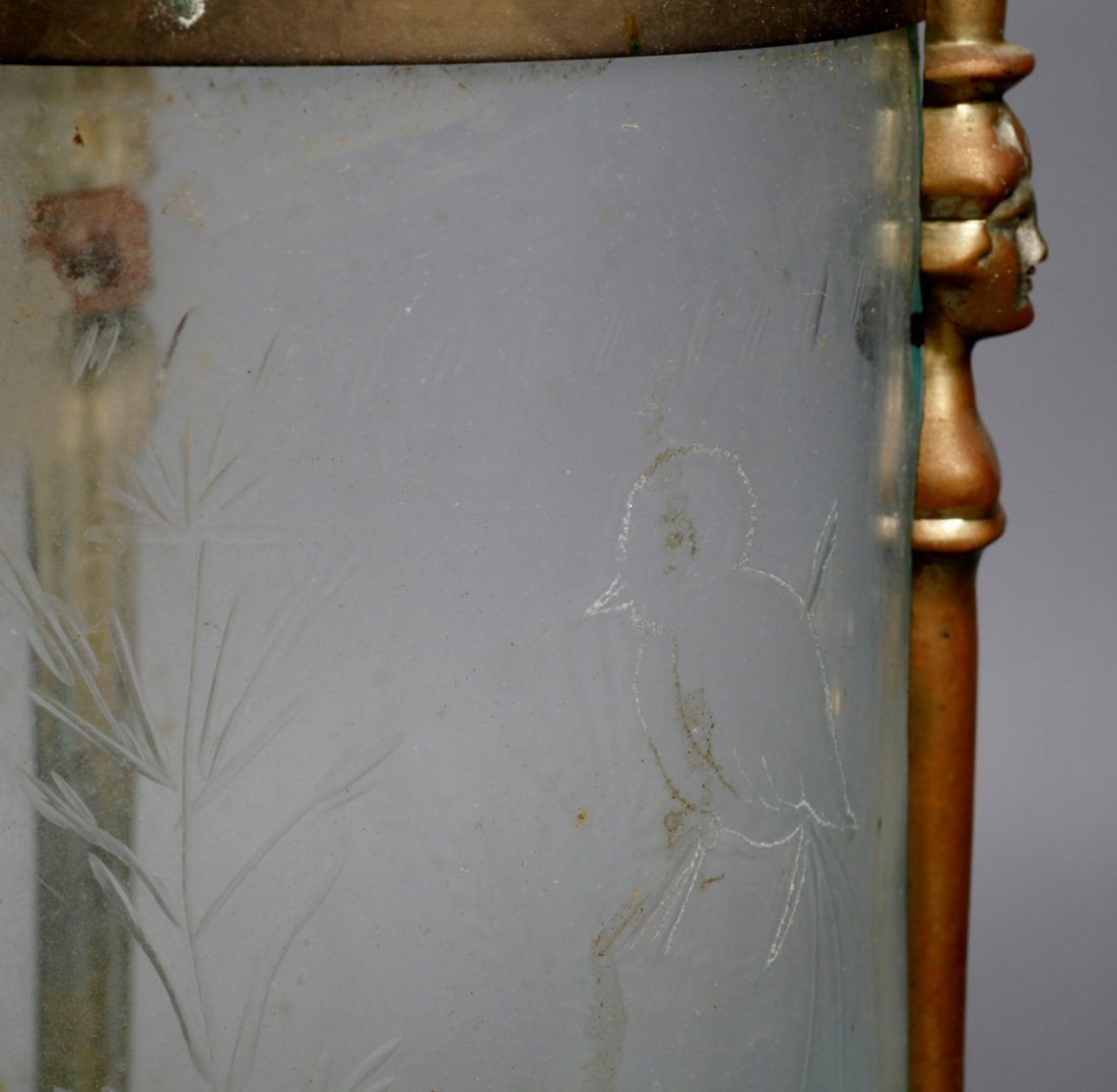 French Antique Light, Etched Glass Hanging - 7