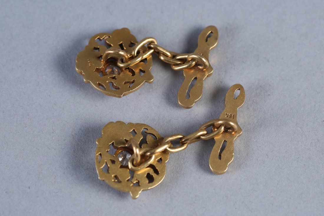 18K Gold and Diamond Cufflinks - 2